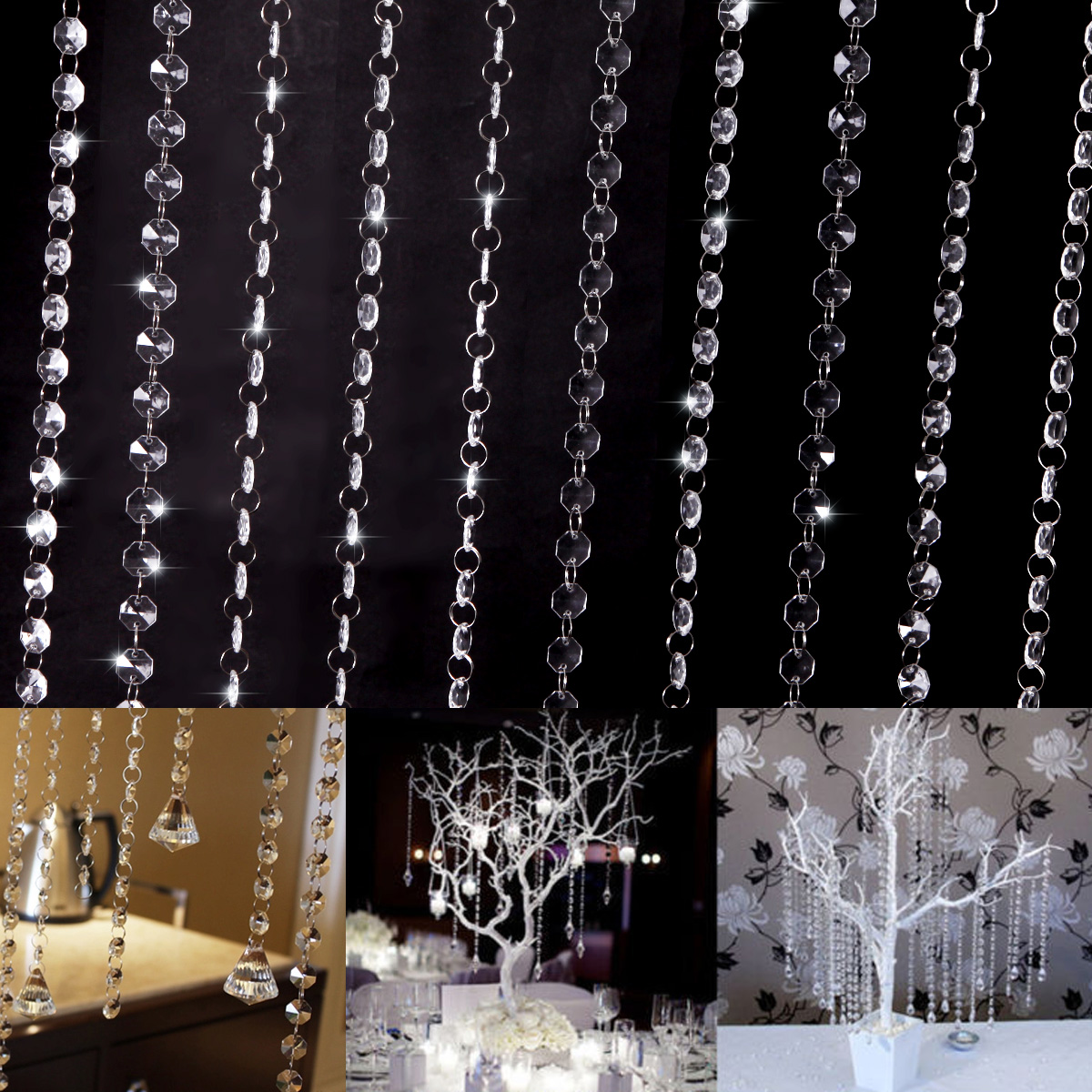 10er 1 meter kristall kette vorhang clear hochzeit party - Cortinas de abalorios ...