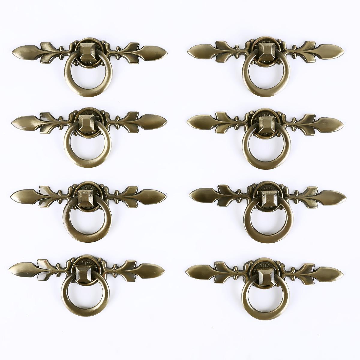 8 x poign e de porte bronz avec anneau 4cm pour meuble r tro vintage vis ebay. Black Bedroom Furniture Sets. Home Design Ideas