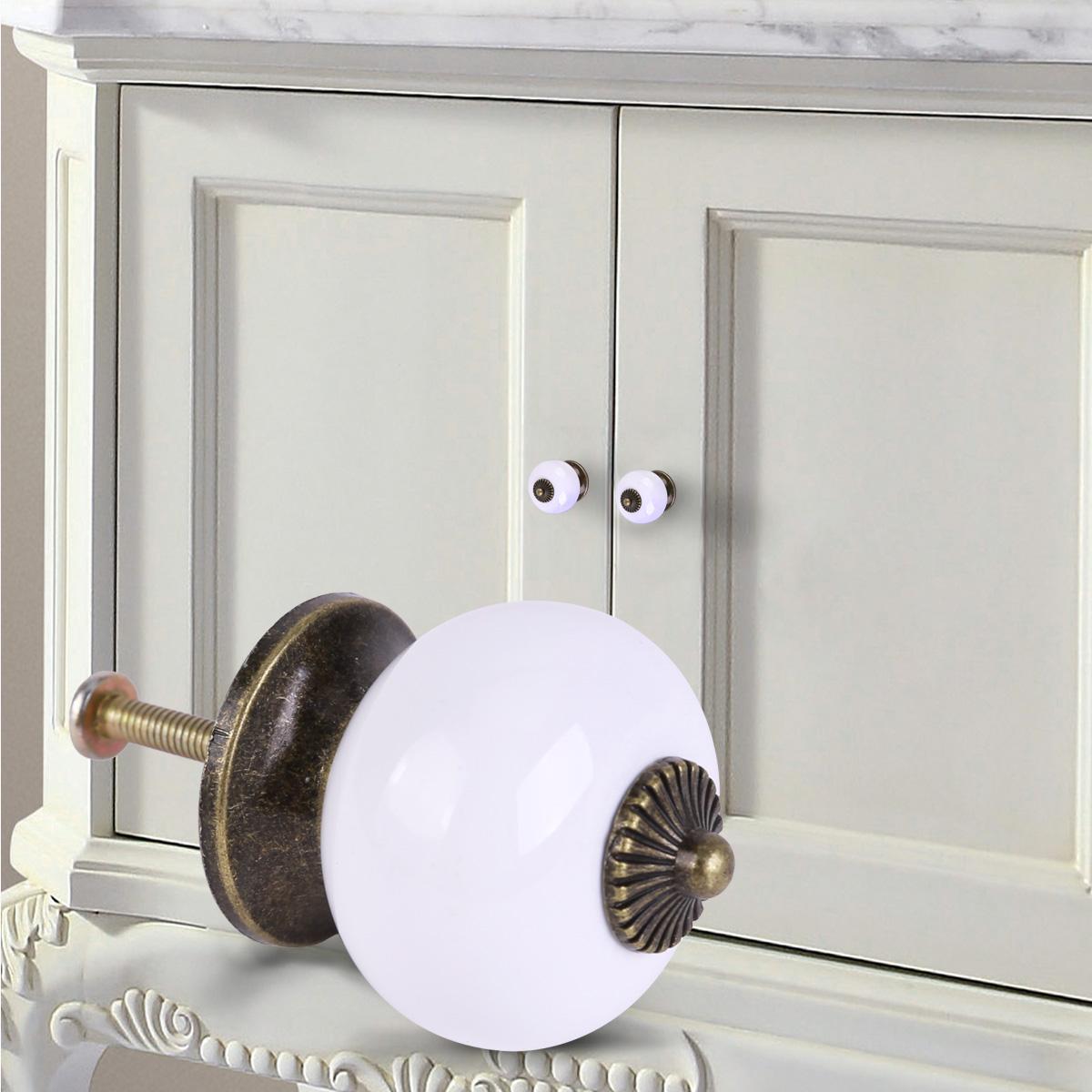 Ceramic Door Round Handles White Kitchen Cabinet Cupboard Wardrobe Pull Knobs