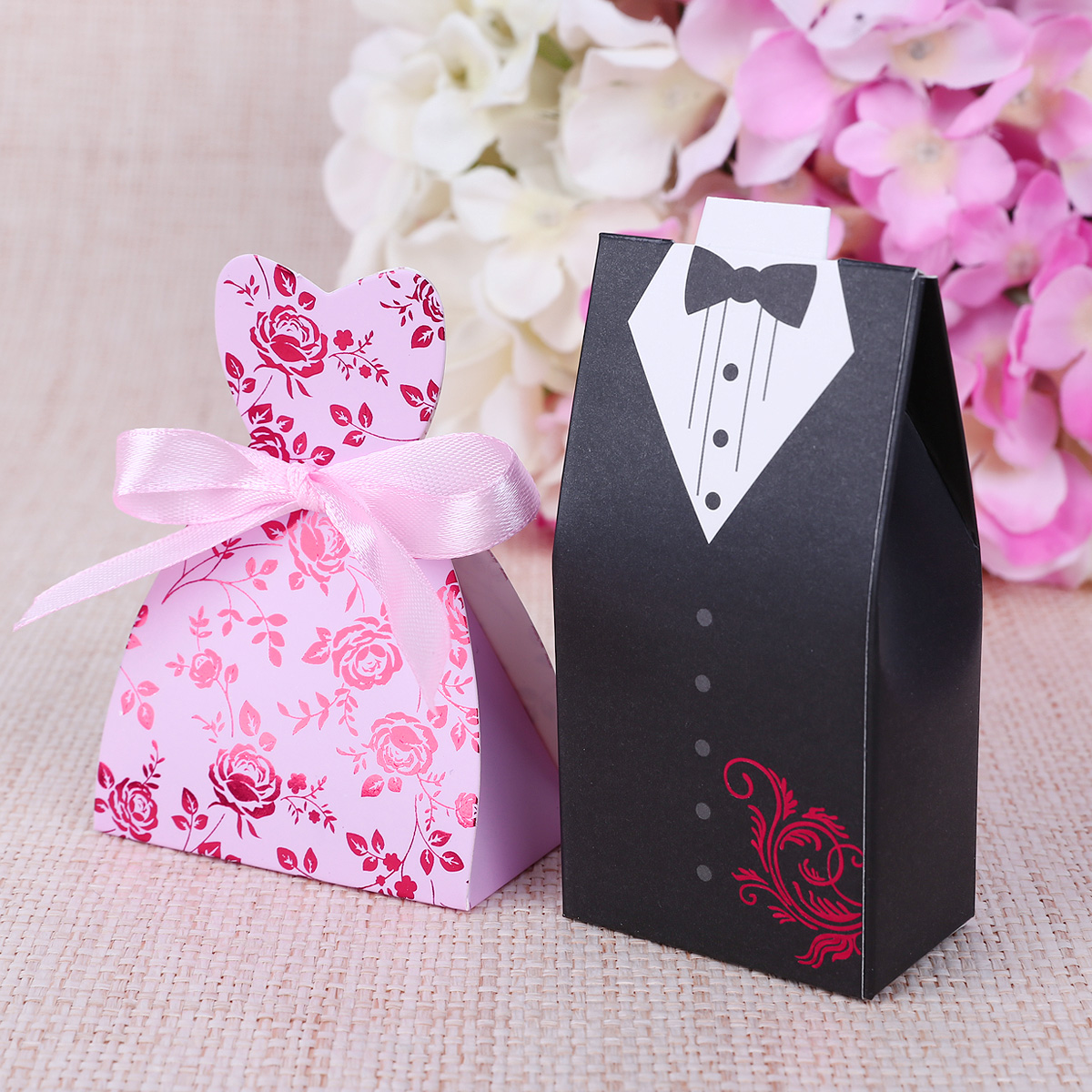 ... Ribbon Dress & Groom Bride Wedding Party Favor Gift Candy Boxes Bag
