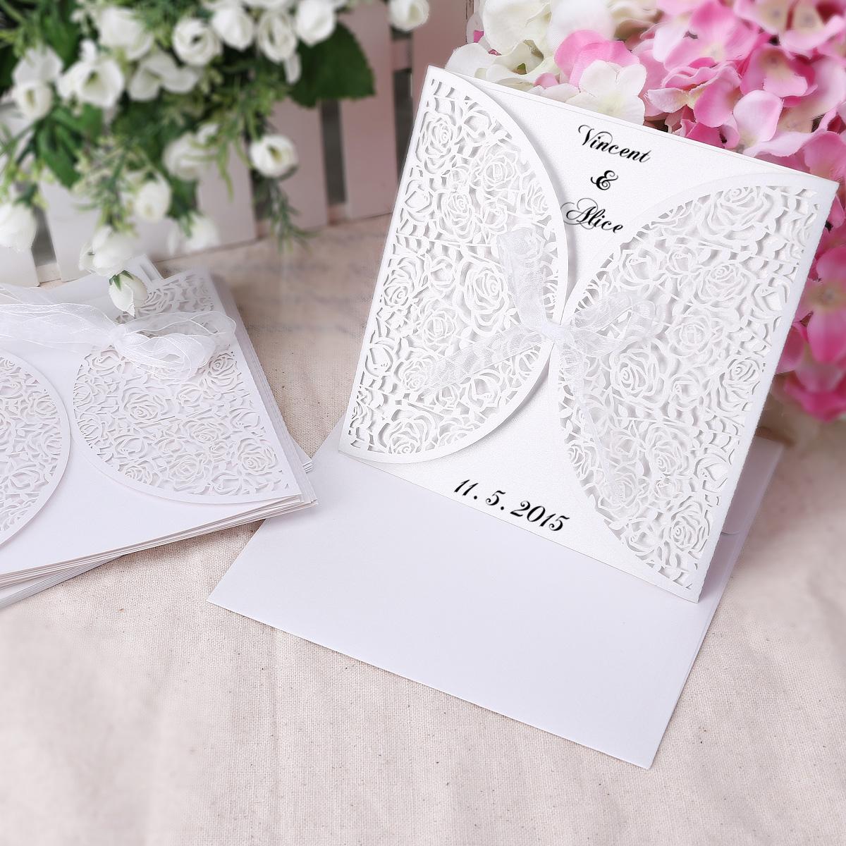 Butterfly rose flowers double fold wedding invitations for Wedding invitations with double envelopes