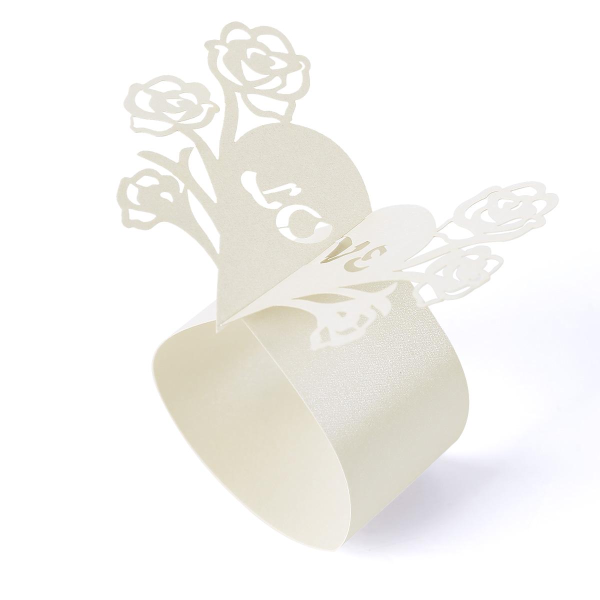 butterfly rose paper napkin rings holder wedding. Black Bedroom Furniture Sets. Home Design Ideas