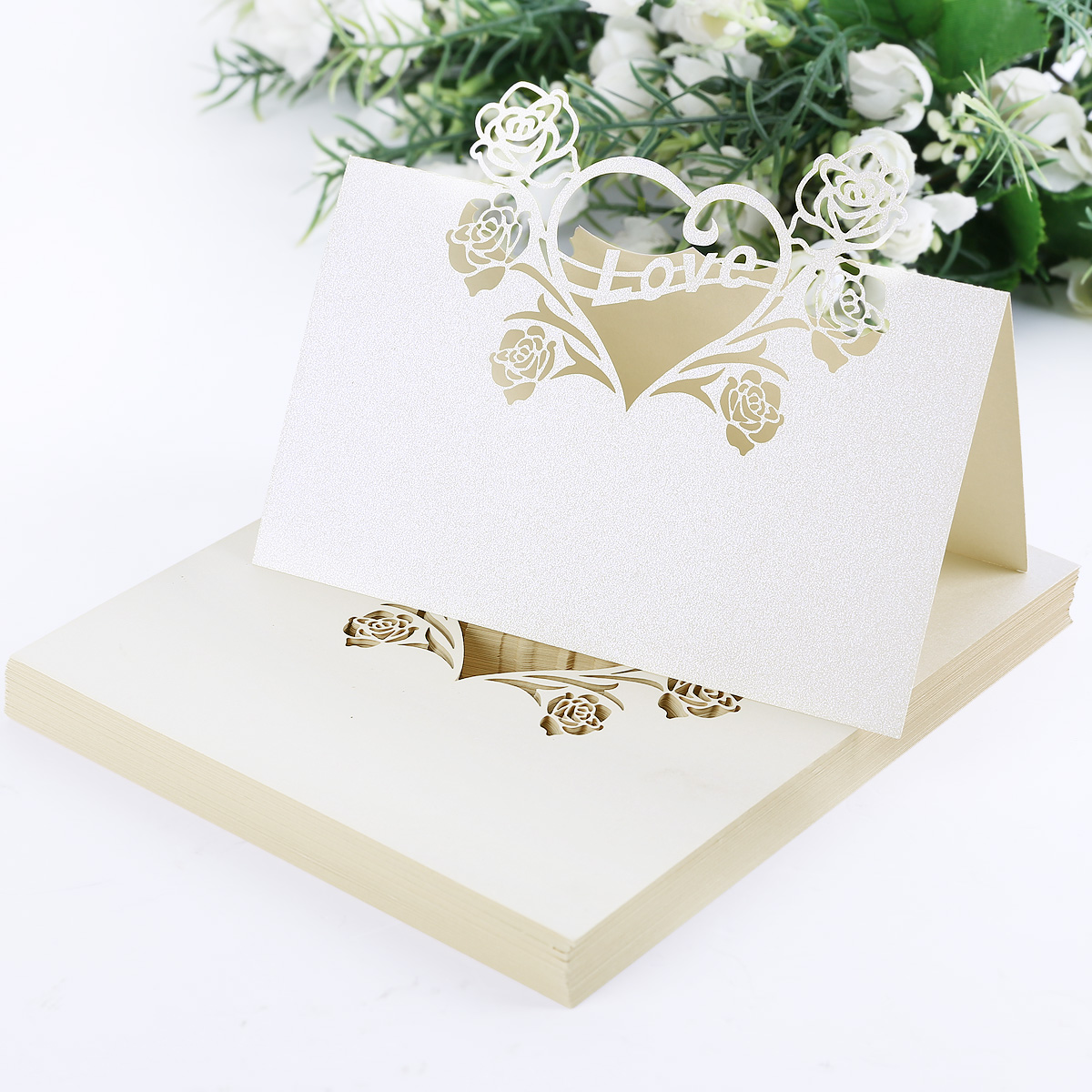 25 30 50 Name Place Cards Wedding Guest Names Table CardsFavorLaser Cut Pearl