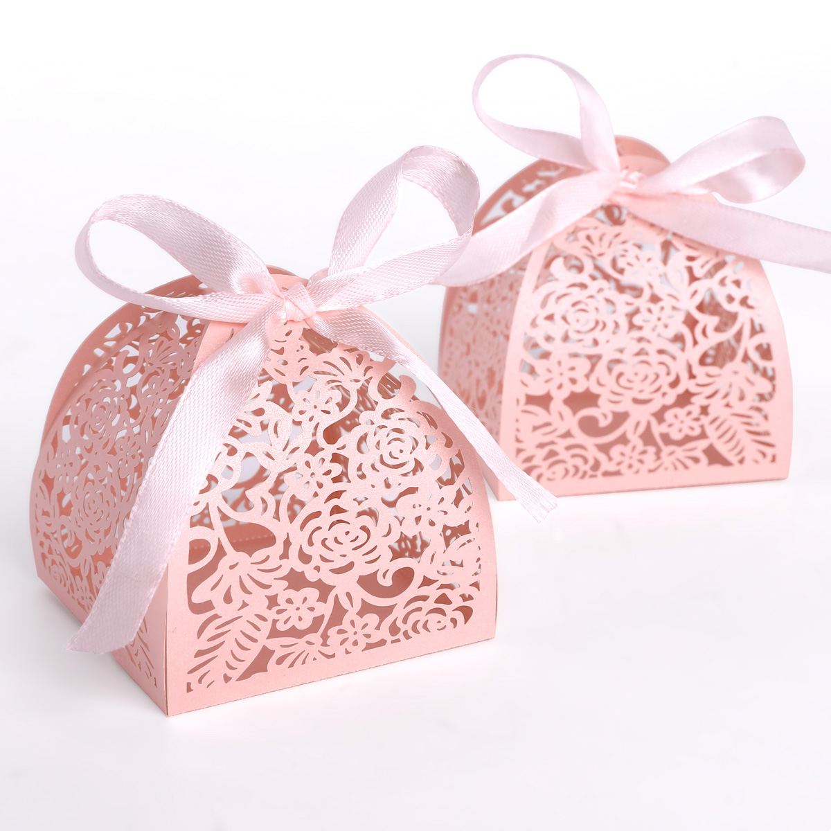 25 Pearl Paper Rose Laser Cut Wedding Party Favor Box Gift Ribbon ...