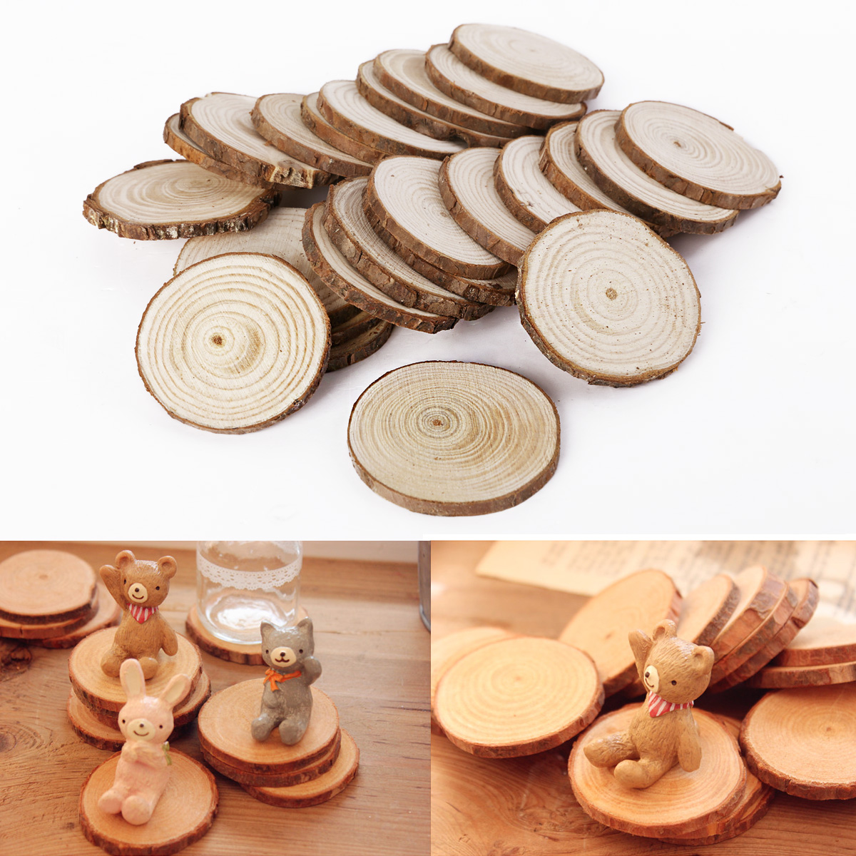 wooden wood log slices natural tree bark decorative disc