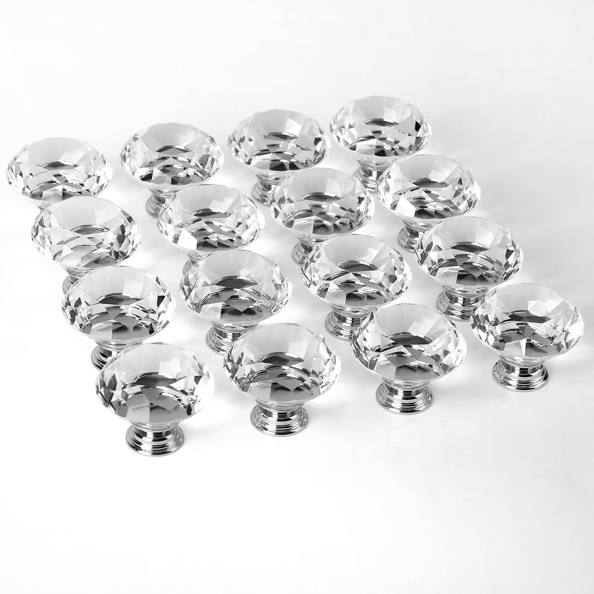 16pcs 40mm pomo de cristal vidrio tiradores para puertas - Tiradores y pomos ...
