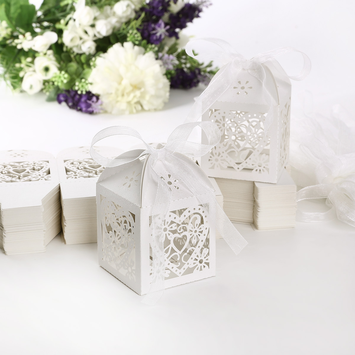 Luxury Wedding Party Sweets Cake Candy Gift Favour Favors Boxes Love X100