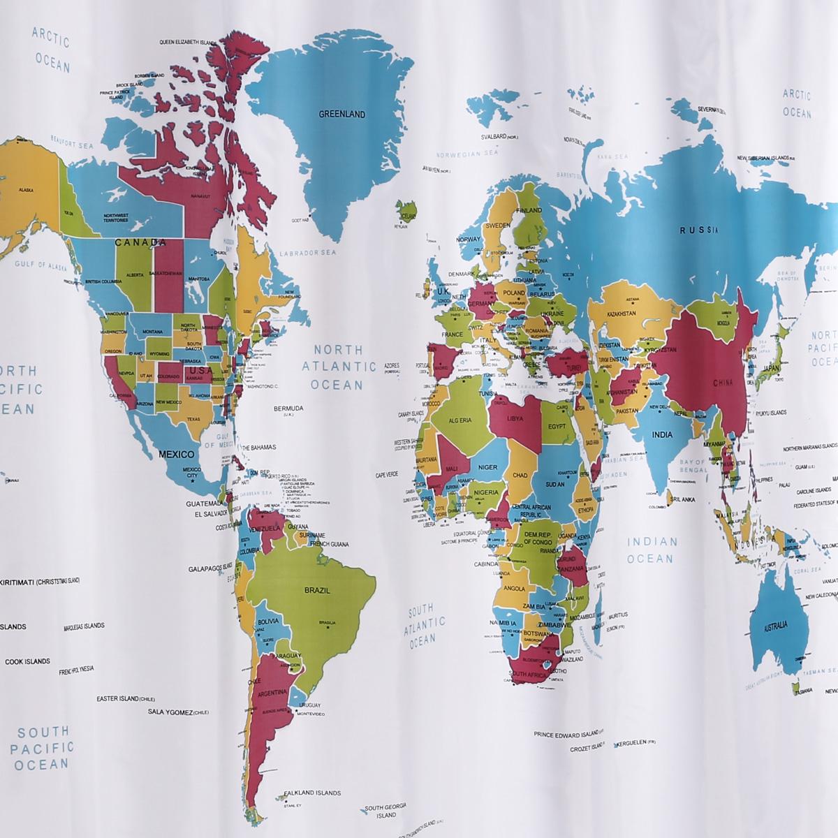 Rideau de douche carte du monde 180x180cm 12 crochets anneaux world map ebay - Rideau de douche carte du monde ...