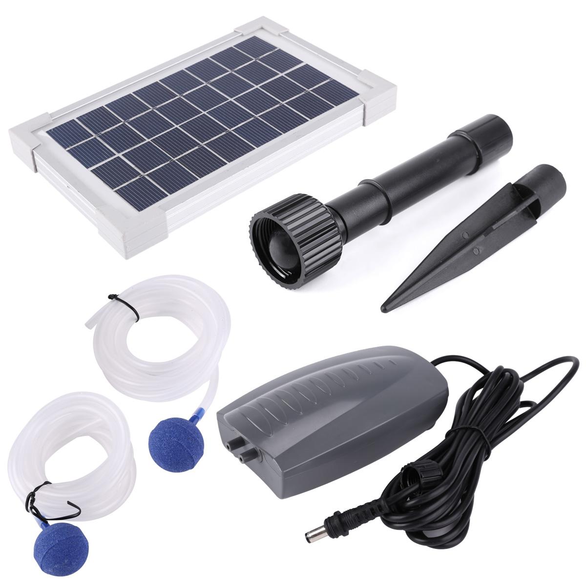 2 5w Solar Powered Panel Oxygenator Pond Pool Water Oxygen