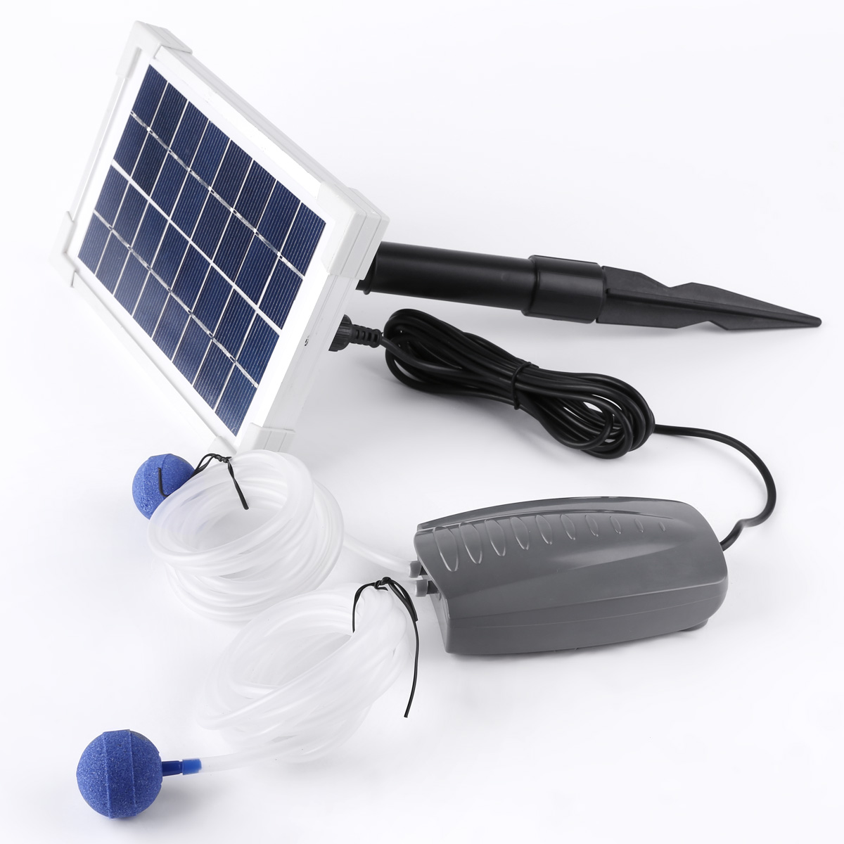 2 5w Solar Powered Panel Oxygen Oxygenator Pond Water Garden Air Pump Outdoor Au