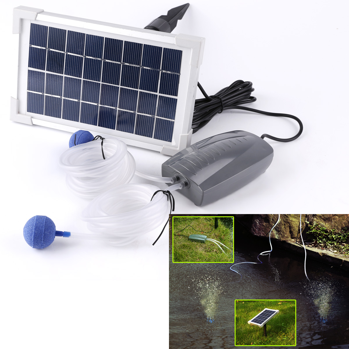 2 5w Solar Powered Panel Oxygenator Pond Pool Water Oxygen Air Pump Aerator Au Ebay