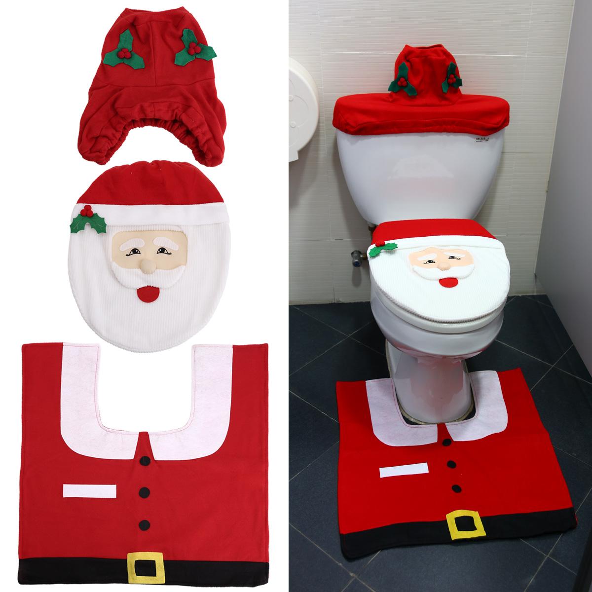 Christmas Bathroom Accessories Uk: 3 X Christmas Decorations Santa Decor Toilet Seat Cover