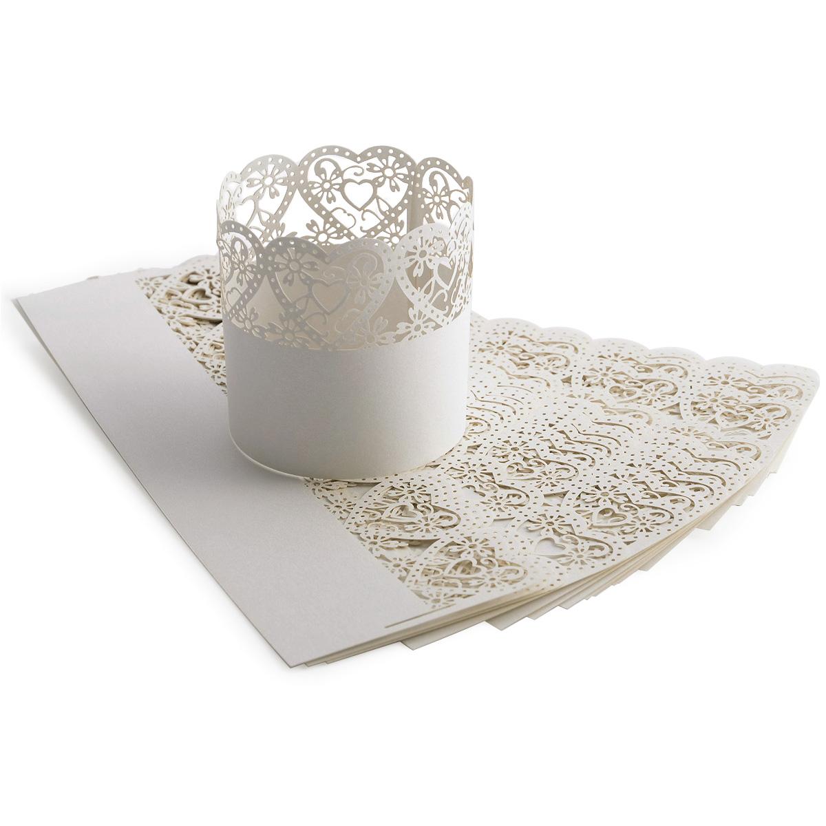 25x hochzeit party deko papier wrapper teelichthalter kerzenhalter kerzenst nder ebay. Black Bedroom Furniture Sets. Home Design Ideas