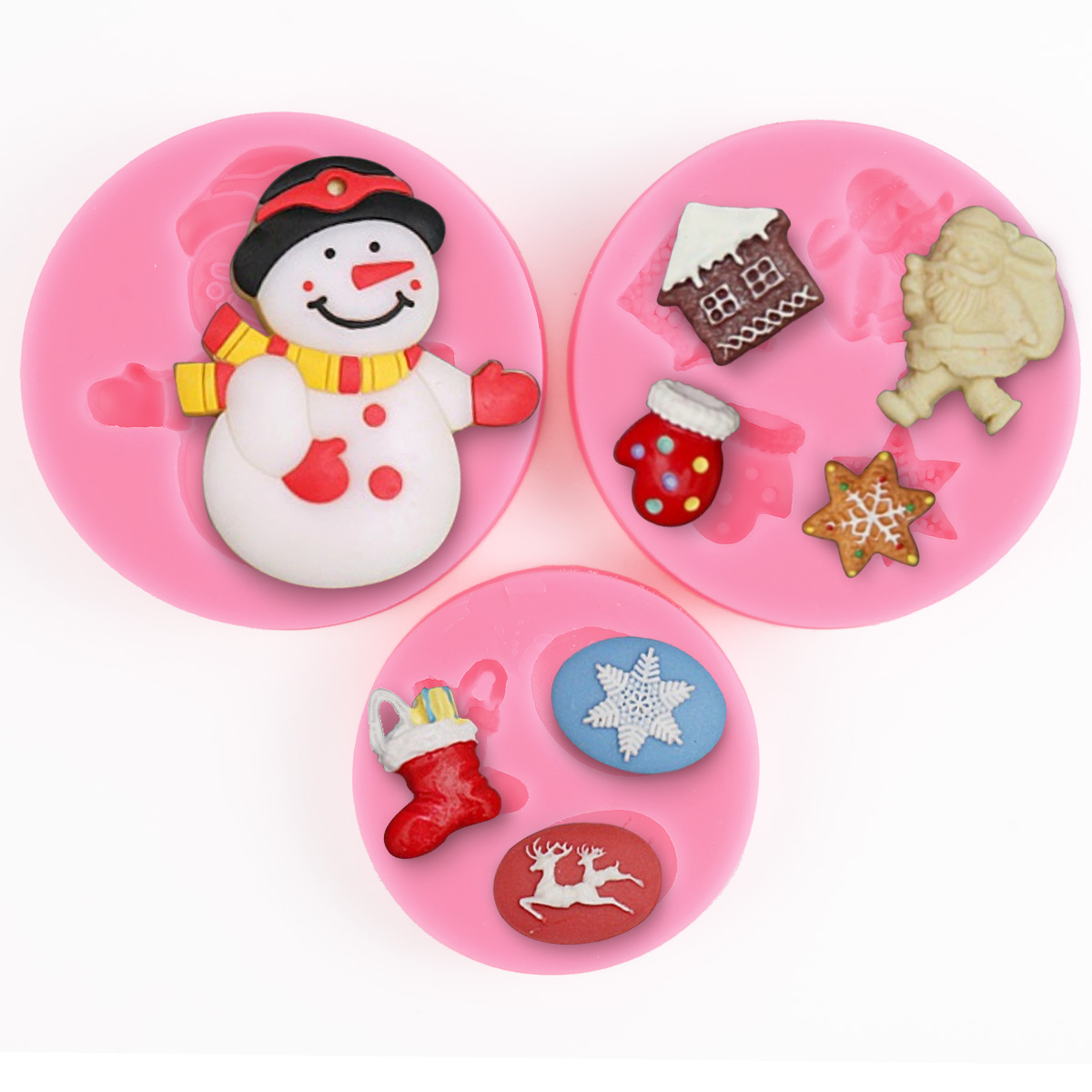 3x moule silicone bonhomme neige accessoire no l p te sucre chocolat fimo r sine ebay. Black Bedroom Furniture Sets. Home Design Ideas
