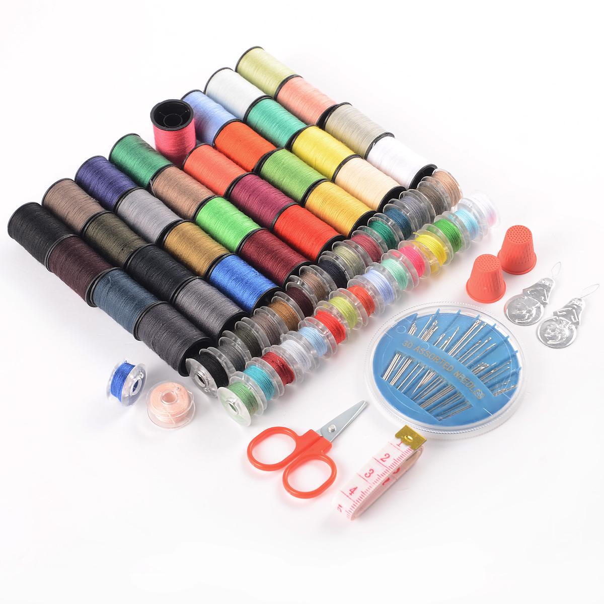 sewing machine 100 piece thread set spool bobbin set kit reel w scissors needles ebay. Black Bedroom Furniture Sets. Home Design Ideas