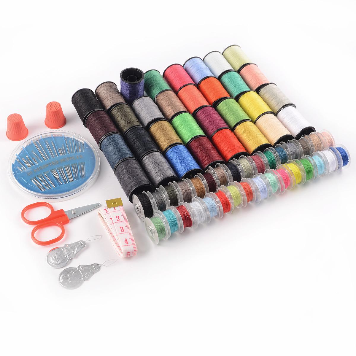 64 hilos de colores 6 piezas set de costura tijeras estuche de agujas ebay - Set de costura ...