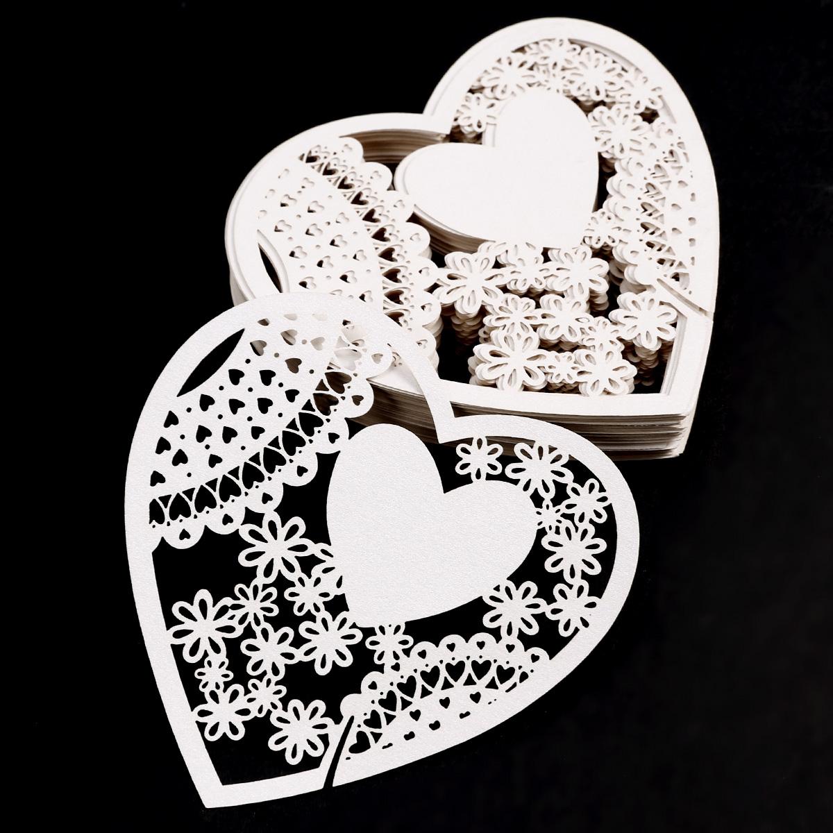 50pcs carte de verre coeur 8cm porte nom marque place pr - Marque place coeur pied de verre ...