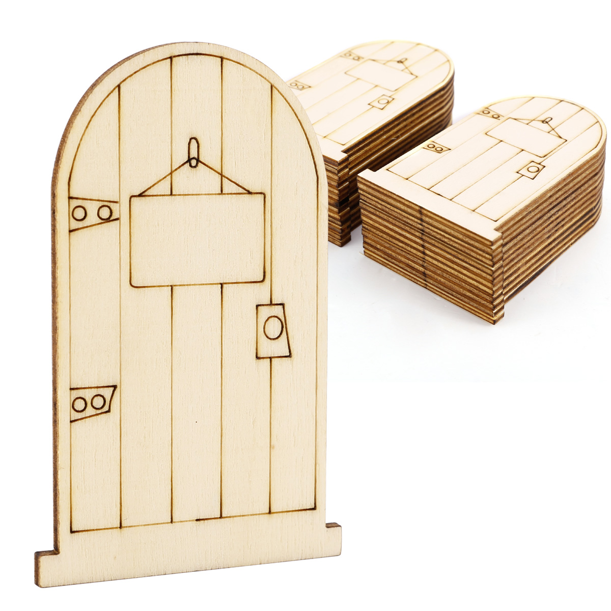 25pcs wooden fairy door craft embellishments laser cut diy for Wooden fairy doors