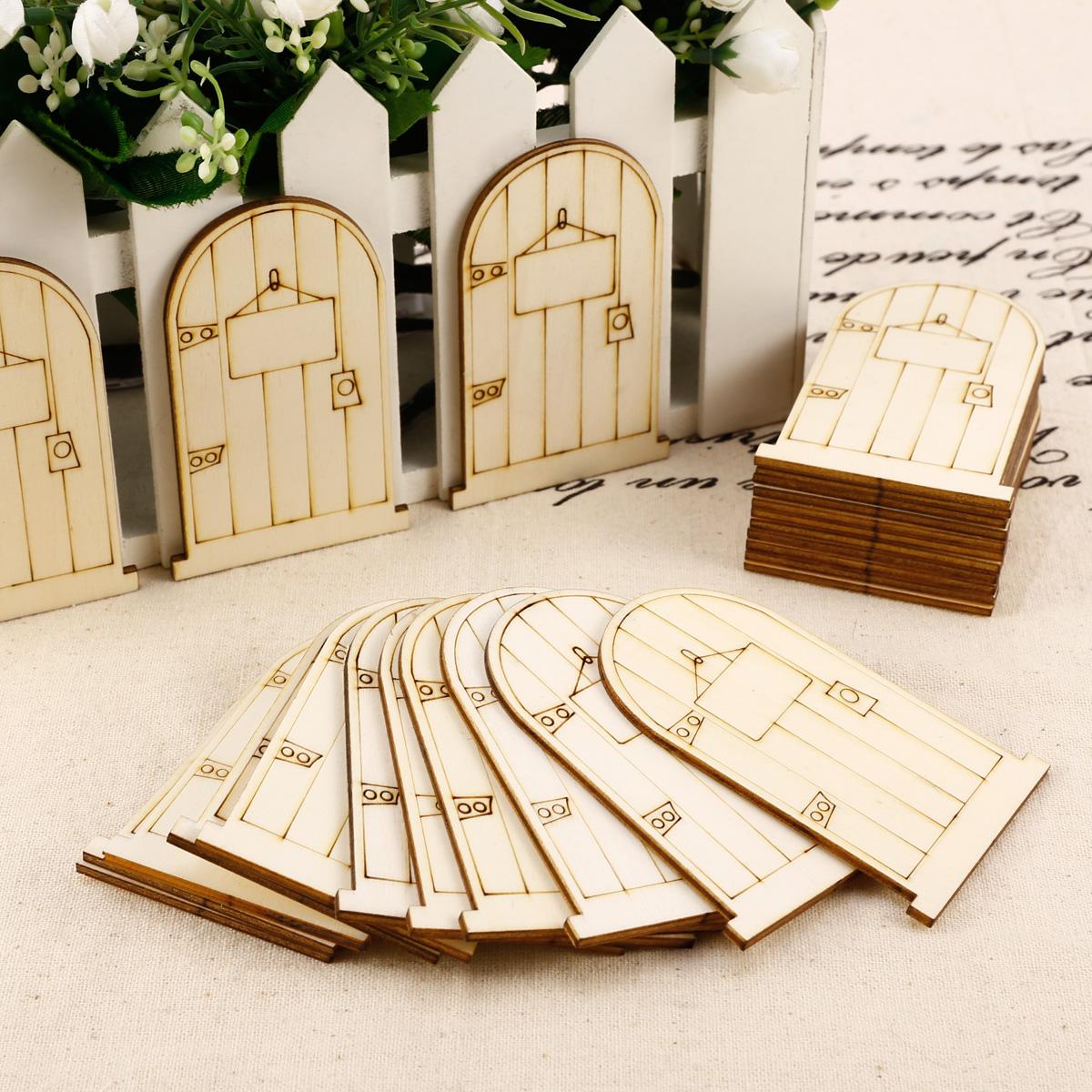 25x laser cut wooden fairy elf doors unpainted with plaque for Wooden elf door