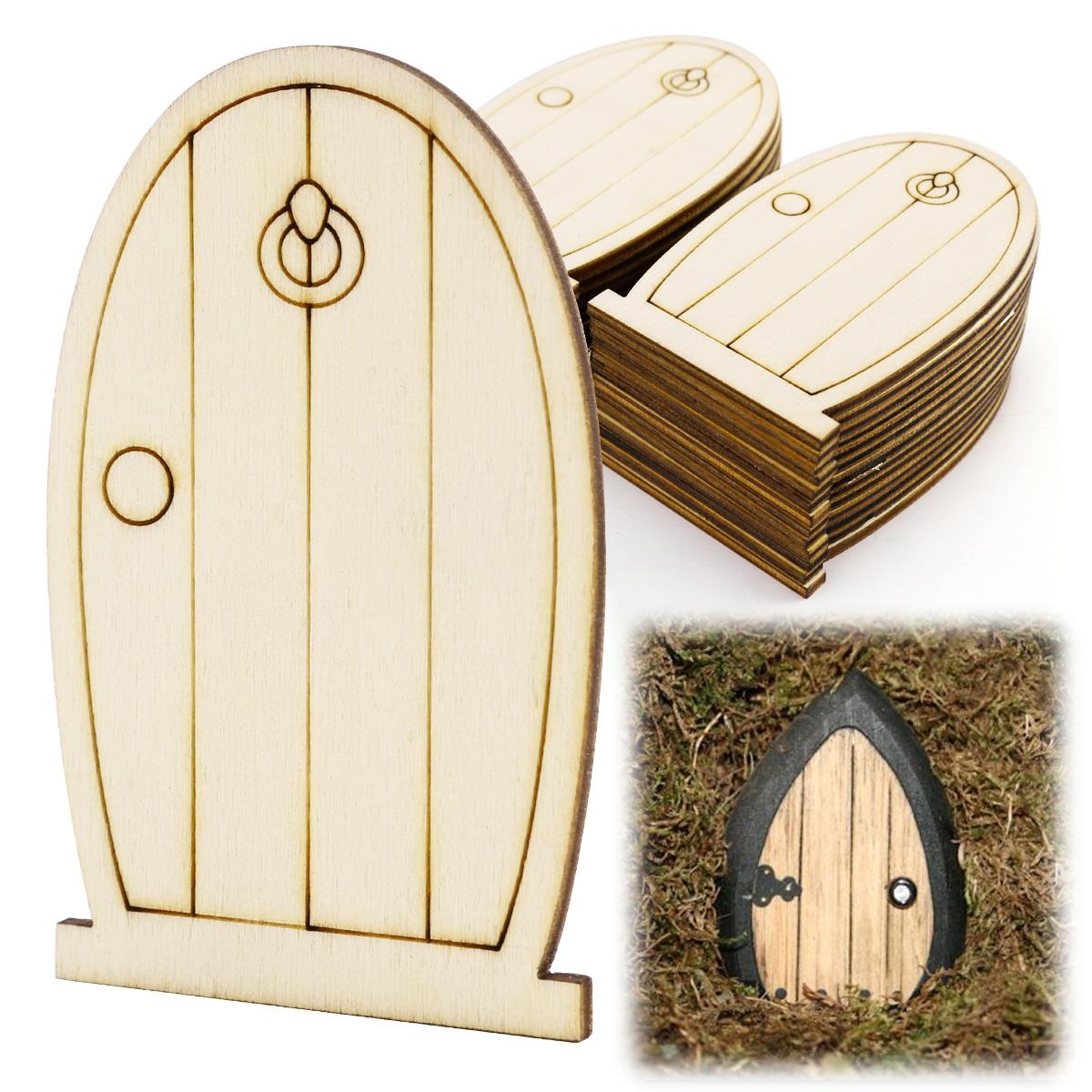 25x laser cut wooden fairy elf doors unpainted with plaque for Wooden fairy doors that open