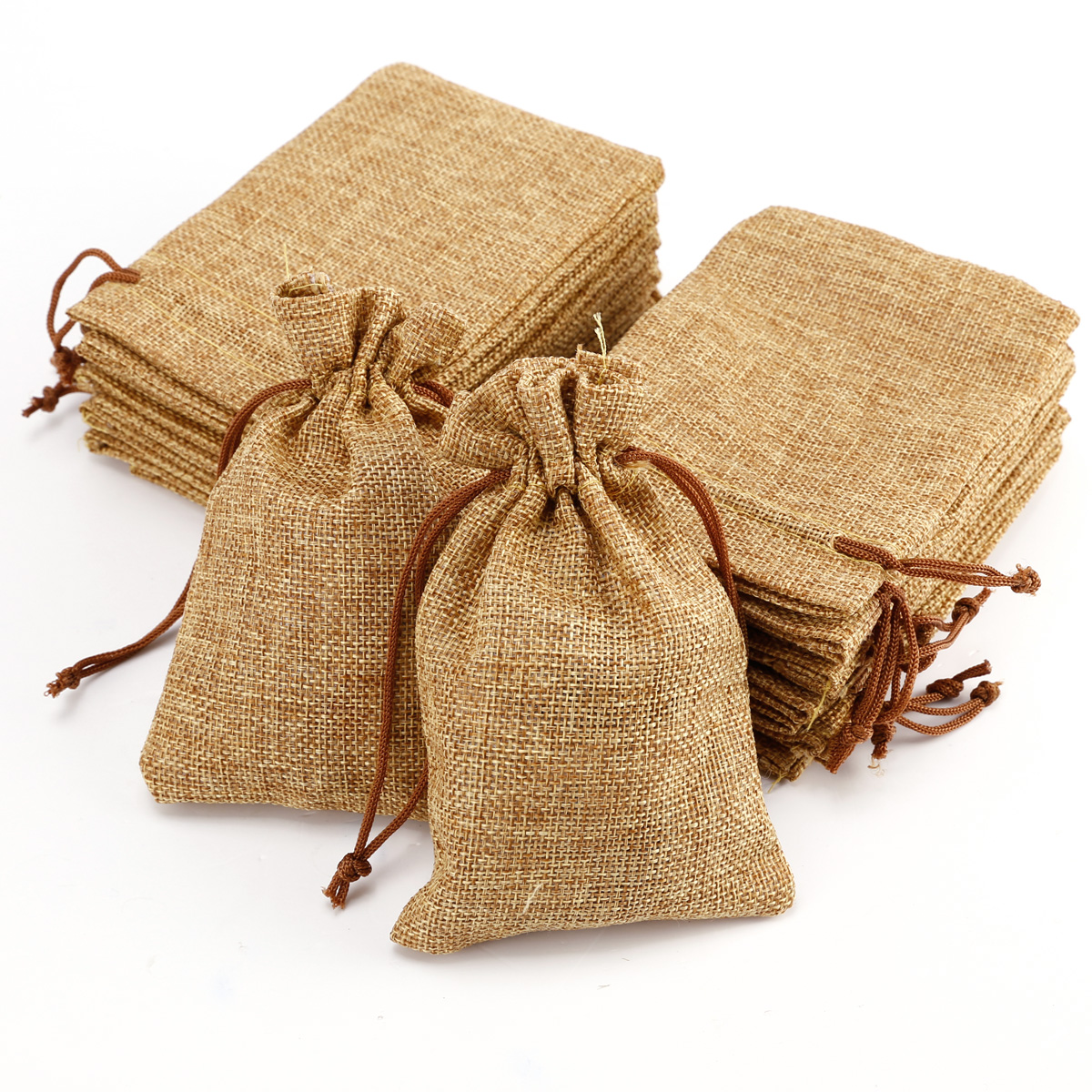 20 natural burlap bags jute hessian drawstring sack small wedding favor gift ebay. Black Bedroom Furniture Sets. Home Design Ideas