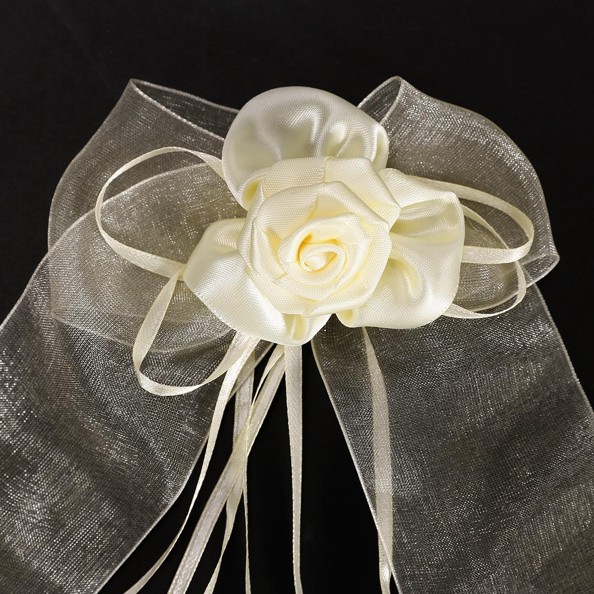 4x noeud organza fleur rose satin blanc beige h20cm 30cm voiture d coration - Voilage organza blanc ...