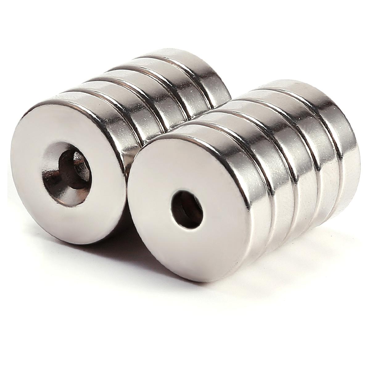 10tlg 20mm n50 neodym runde scheibe mit loch magnete pinnwand k hlschrank ebay. Black Bedroom Furniture Sets. Home Design Ideas