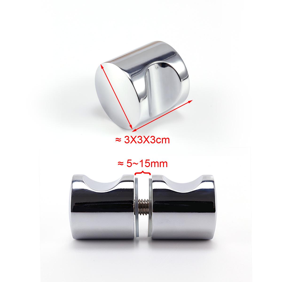 2x poign e bouton 2 c t s pour porte verre salle de bain douche 3cm m tal 748. Black Bedroom Furniture Sets. Home Design Ideas
