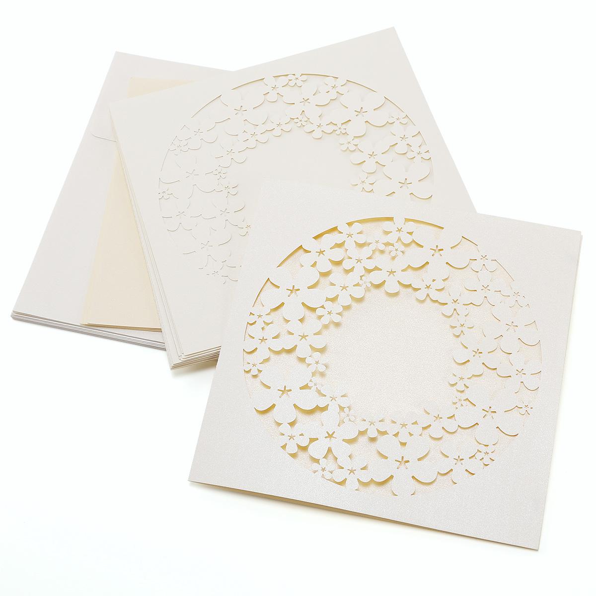 10er einladungskarten elegante blume schleifeband umschlag. Black Bedroom Furniture Sets. Home Design Ideas