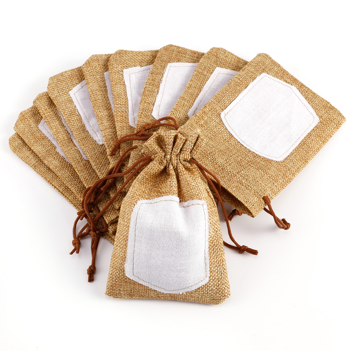 10 20pcs mini hessian burlap favor bags wedding rustic burlap bag ebay. Black Bedroom Furniture Sets. Home Design Ideas