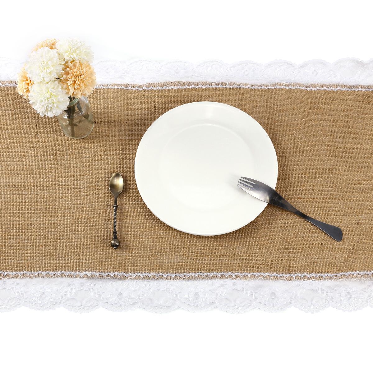 180 220cm tischl ufer tischband l ufer sackleinen spitze borte hochzeit deko ebay. Black Bedroom Furniture Sets. Home Design Ideas