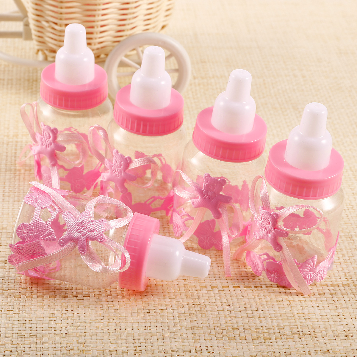 24 baby bubble bottle decoration party favor candy baby shower pink