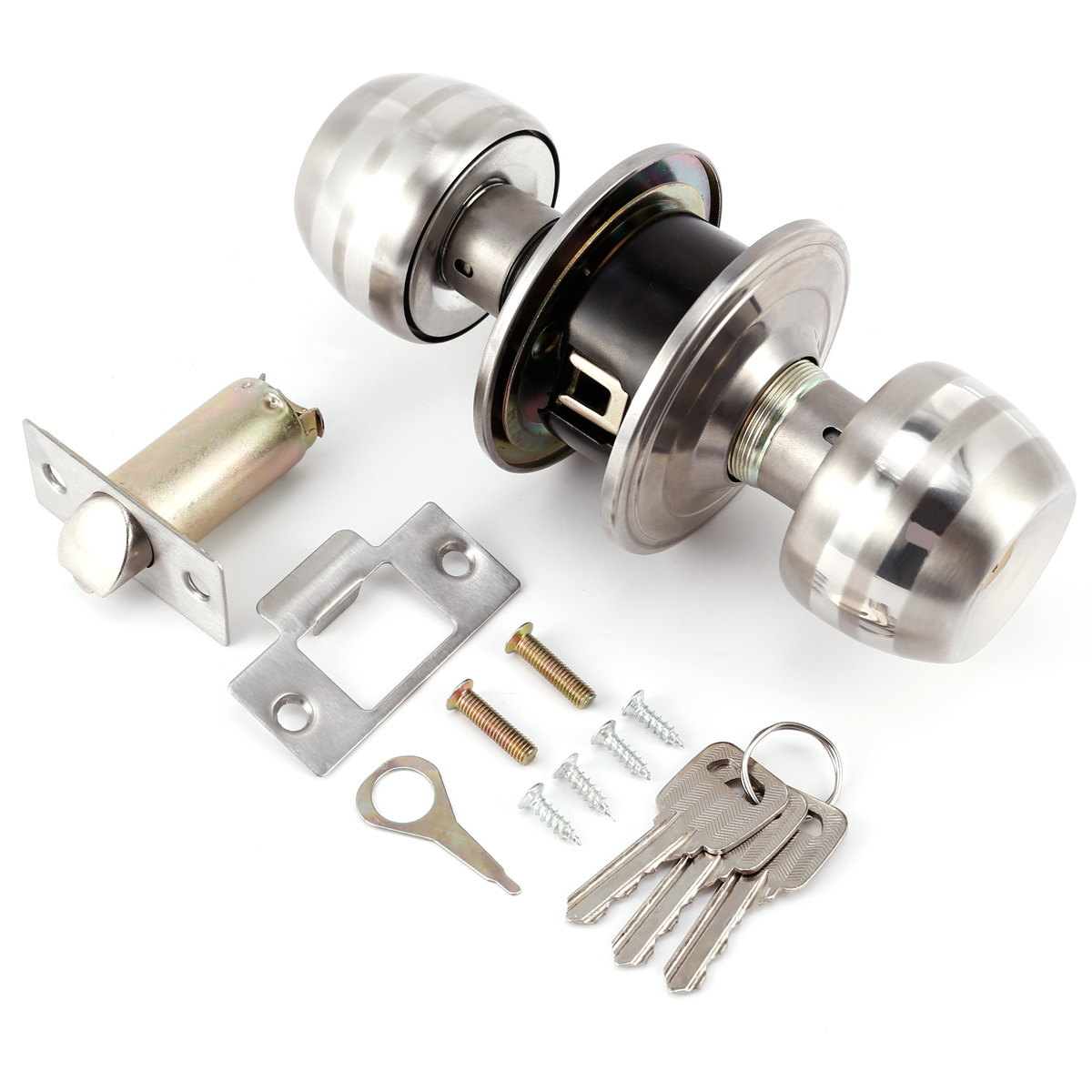 Entry Door Lock Sets Stainless Steel Keyed Alike Exterior Mortise Key Securit