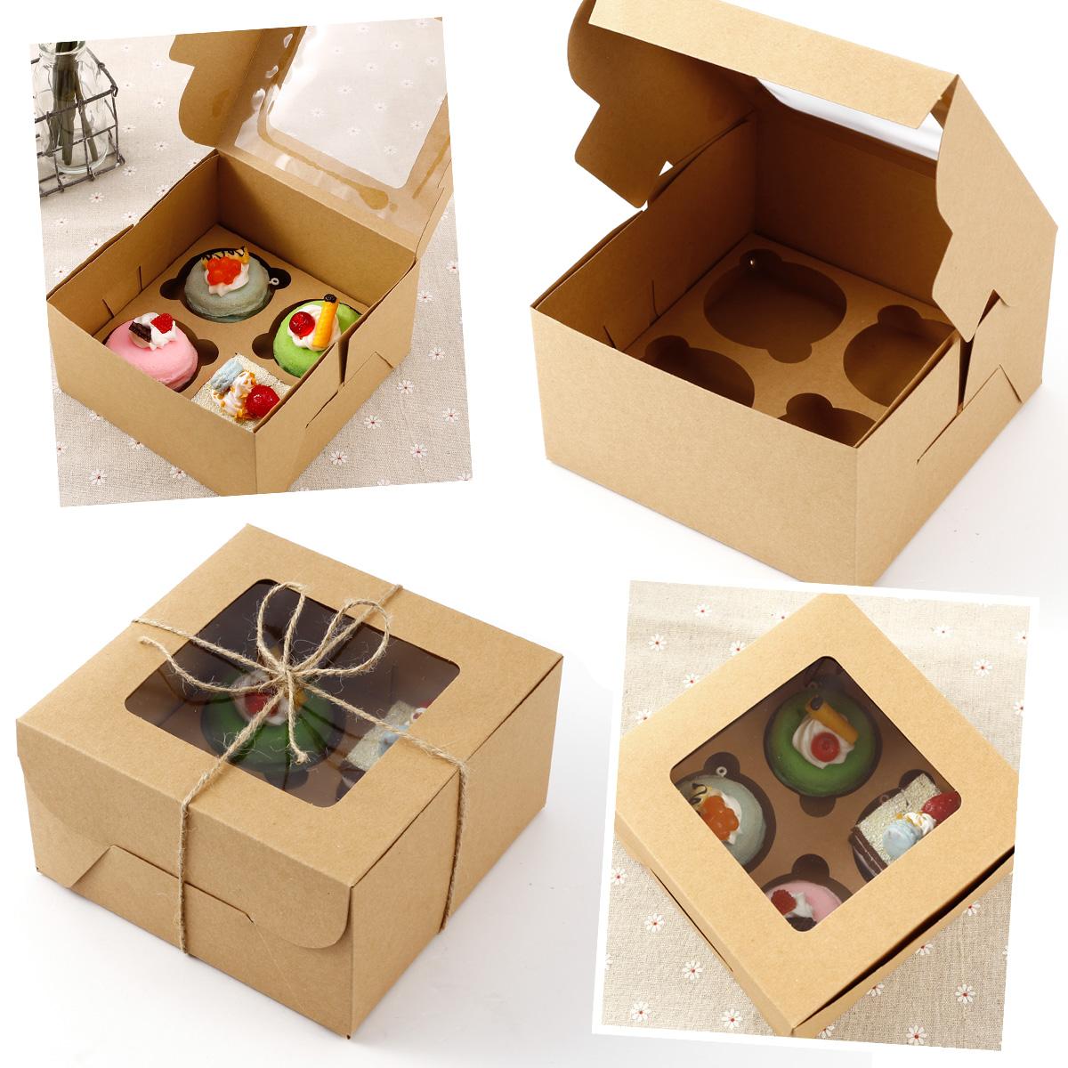 25x bo te cupcakes g teau muffin p tisserie carton kraft 4 cupcakes cadeau ebay. Black Bedroom Furniture Sets. Home Design Ideas
