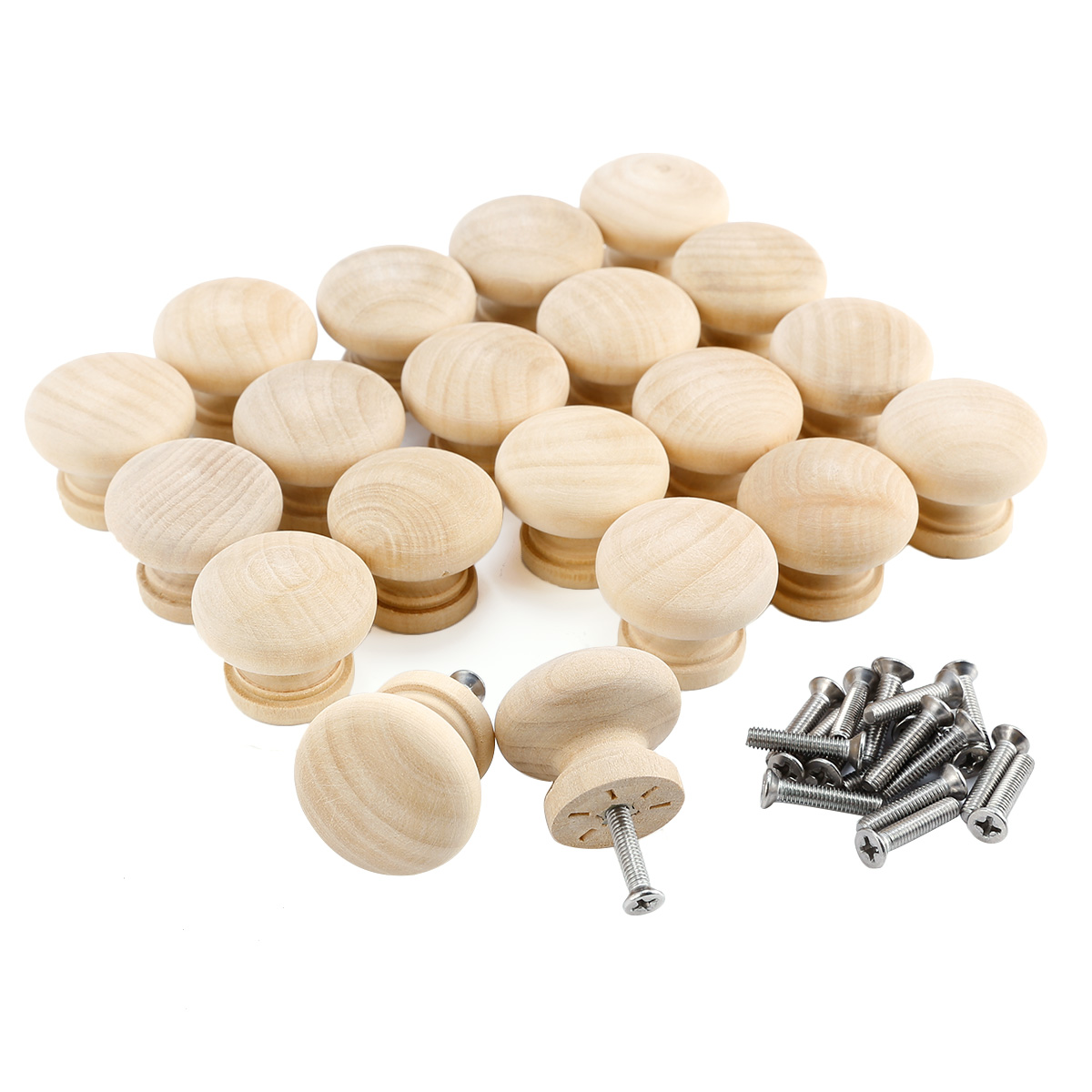 20 60x 32mm Round Wooden Cabinet Knob Cupboard Drawer