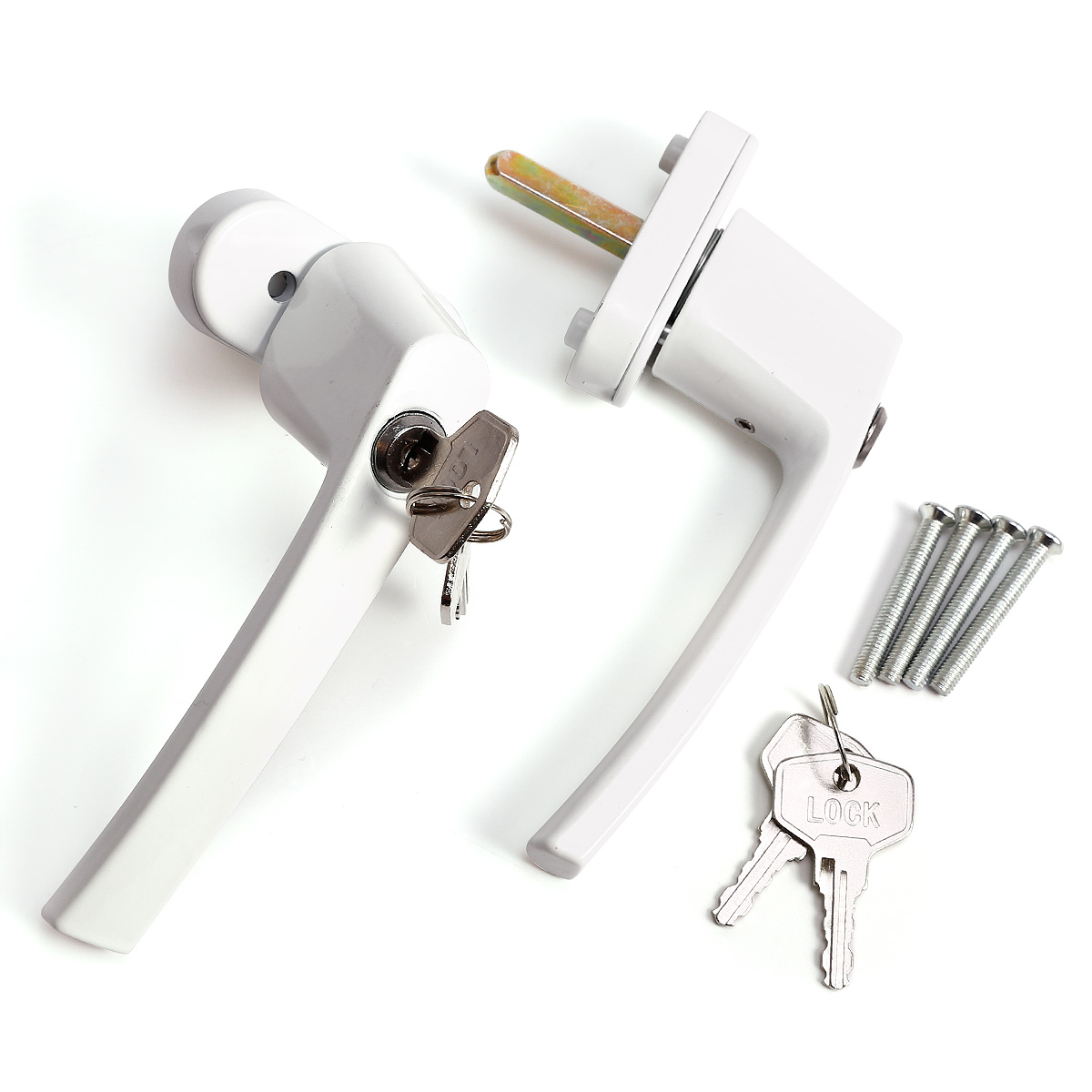2x poign e de porte blanche avec serrure de cl ebay - Poignee de porte avec serrure integree ...