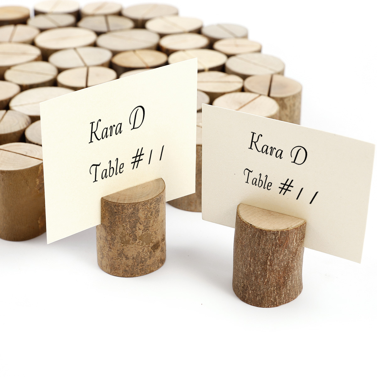 50x wooden wood place card name holders restaurant party for Decoration porte nom table