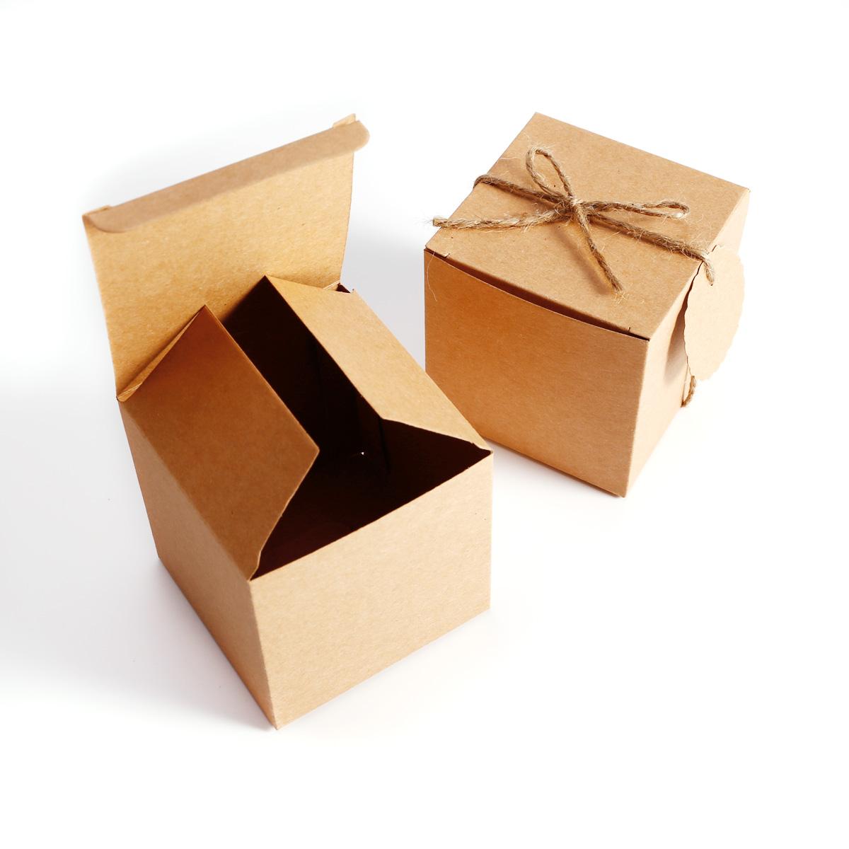 100x bo te drag es kraft 7cm cordon jute tiquette bonbonni re faveur cadeau ebay. Black Bedroom Furniture Sets. Home Design Ideas