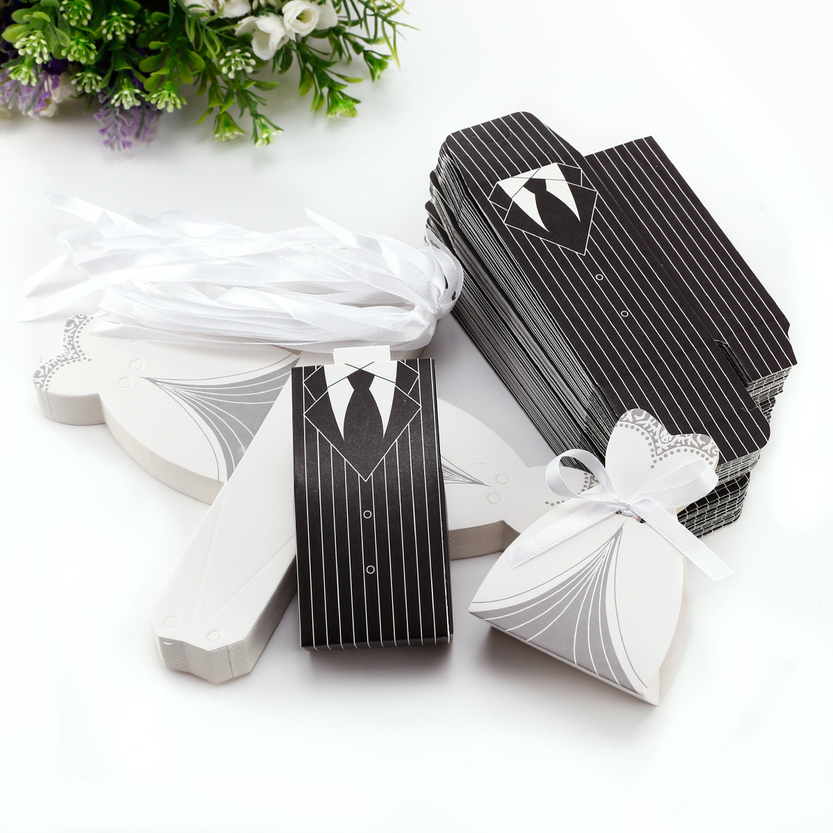 50-100 Bride And Groom Wedding Favours Boxes Sweets Gift For Guest ...