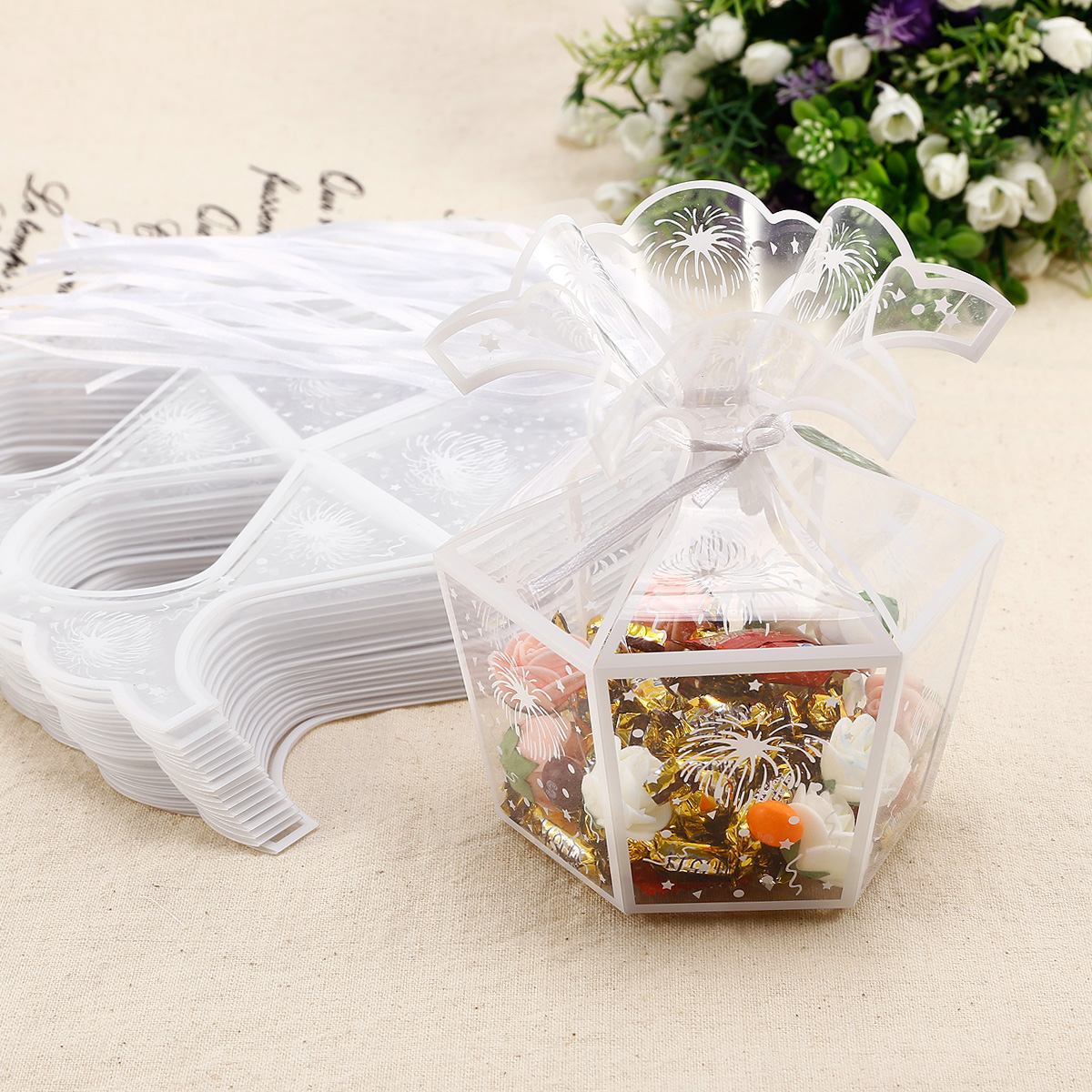 Wedding Favor Boxes Clear Plastic: Pcs clear plastic tuck top pvc ...