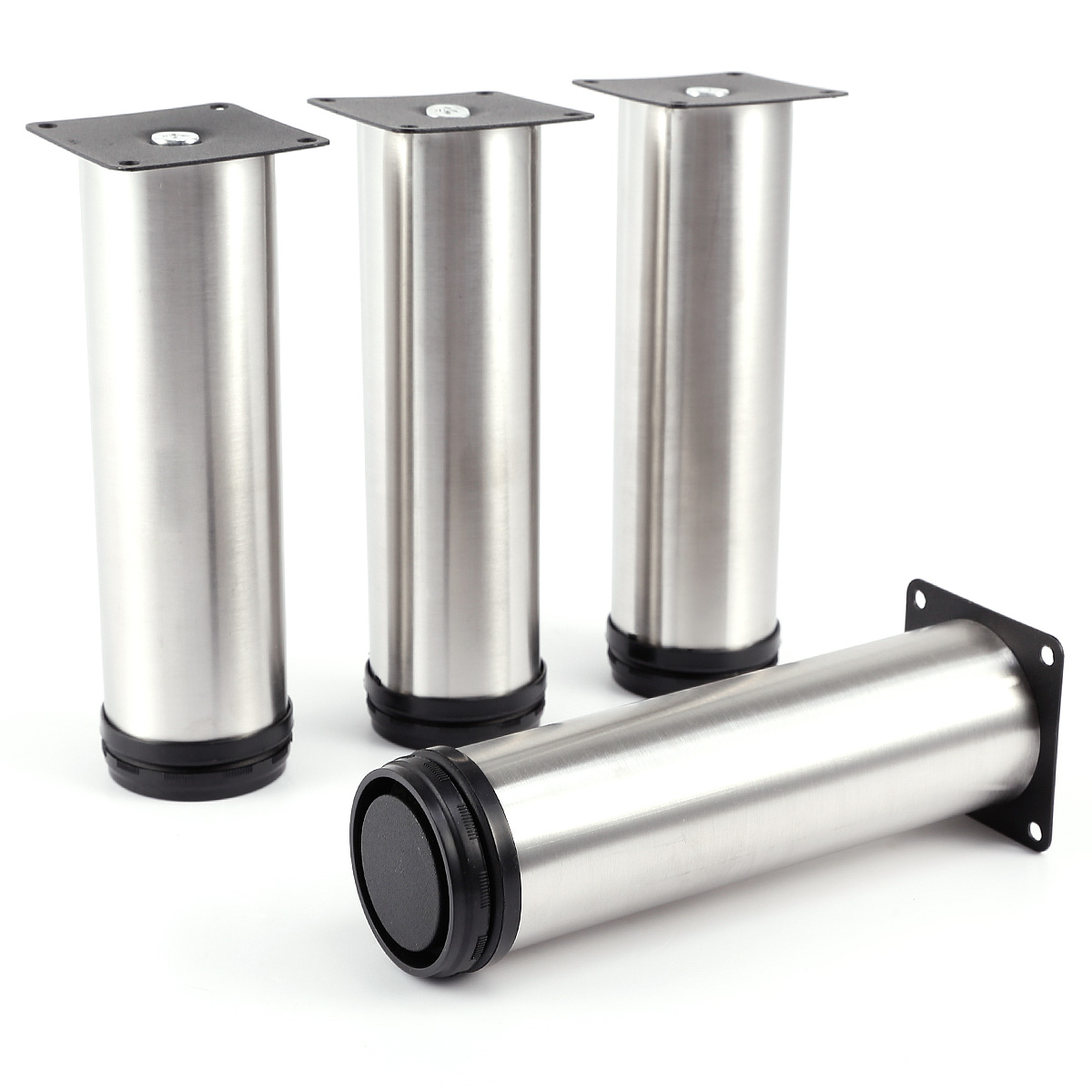 4 Pcs Cabinet Metal Legs Adjustable Stainless Steel Kitchen Feet Round Stand New