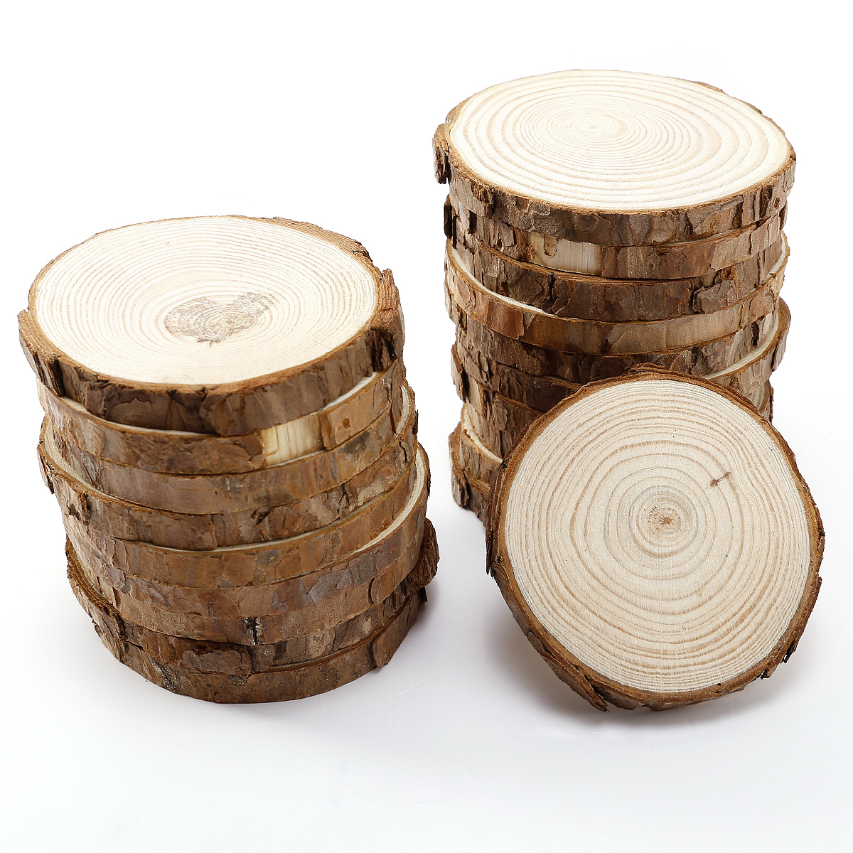 20pcs wooden wood log slices natural tree bark plaque for Wood trunk slices