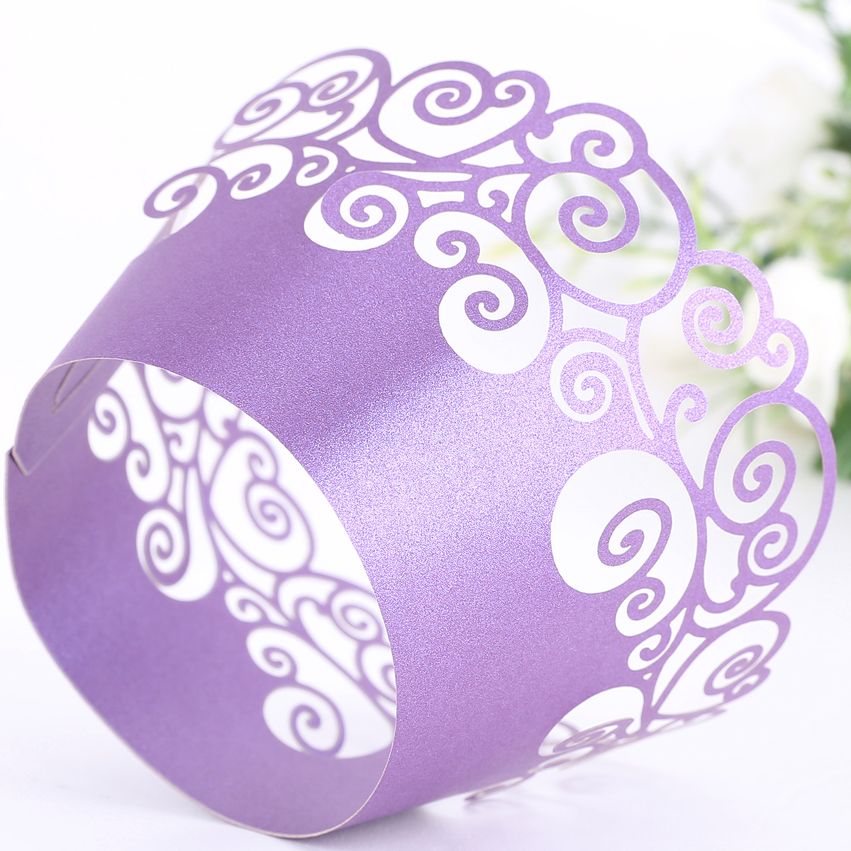 Purple Vine Filigree Cupcake Wrappers Wrap Cases Wedding