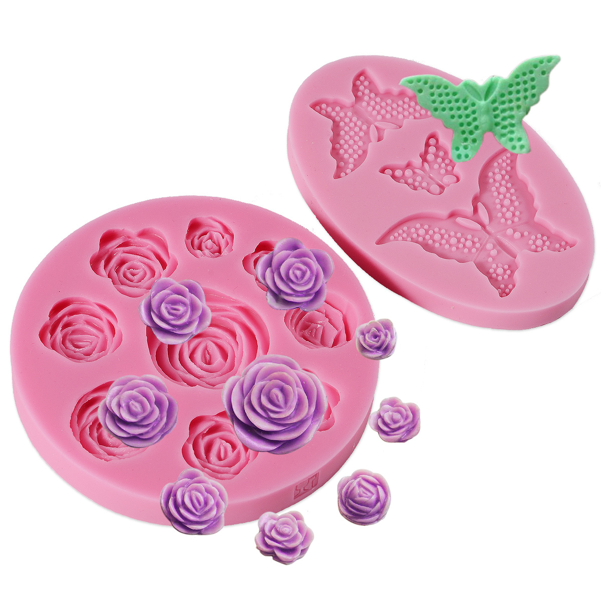Molde silicona fondant bordes de mariposa y rosa para decorar tarta pastel ebay - Moldes silicona amazon ...