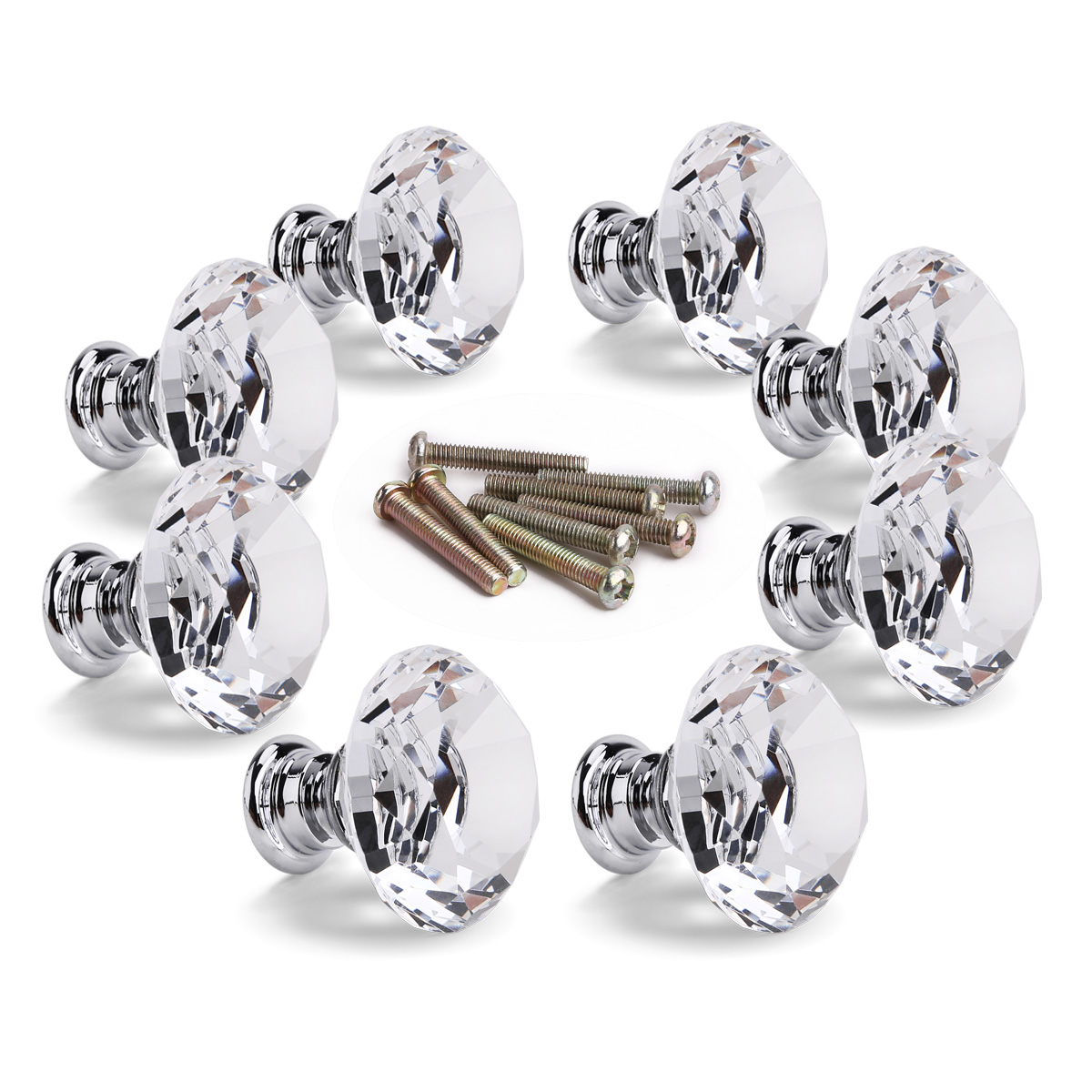 antique style glass crystal door knobs chrome drawer cabinet kitchen pull handle ebay. Black Bedroom Furniture Sets. Home Design Ideas