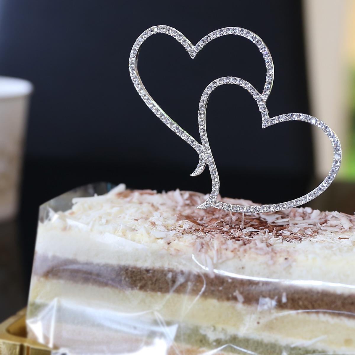 Diamante Rhinestone Love Heart Cake Topper Wedding