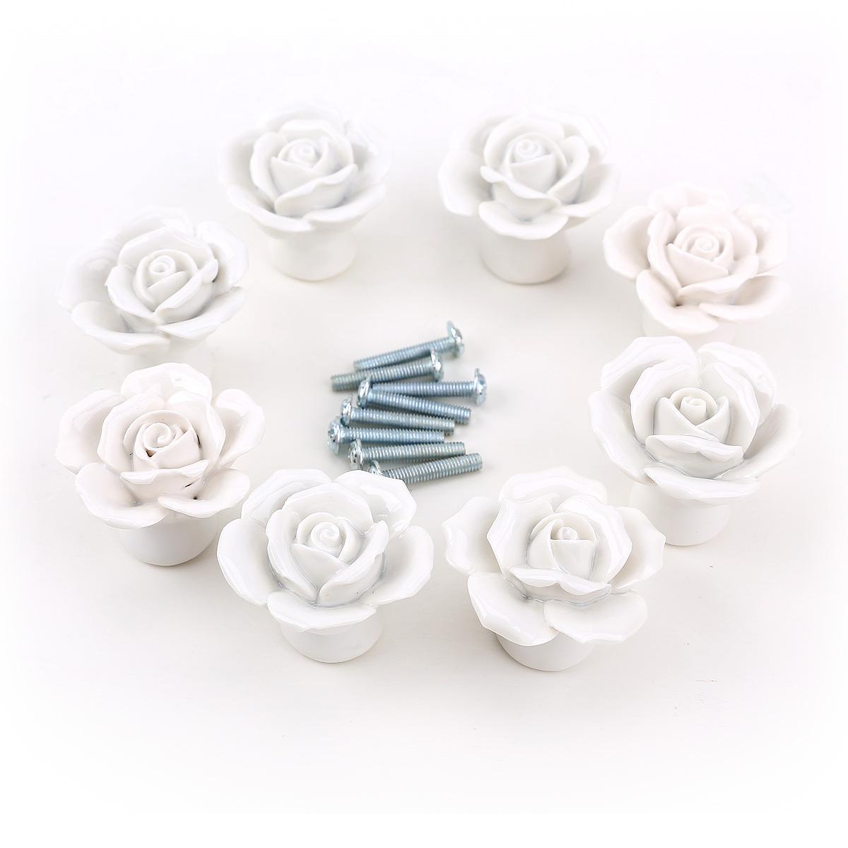 8x white rose ceramic bedroom cabinet cupboard knob drawer handles 8 screws set ebay. Black Bedroom Furniture Sets. Home Design Ideas
