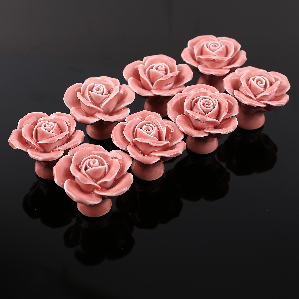 8x Vintage Ceramic Rose Flower Round Drawer Knobs Door