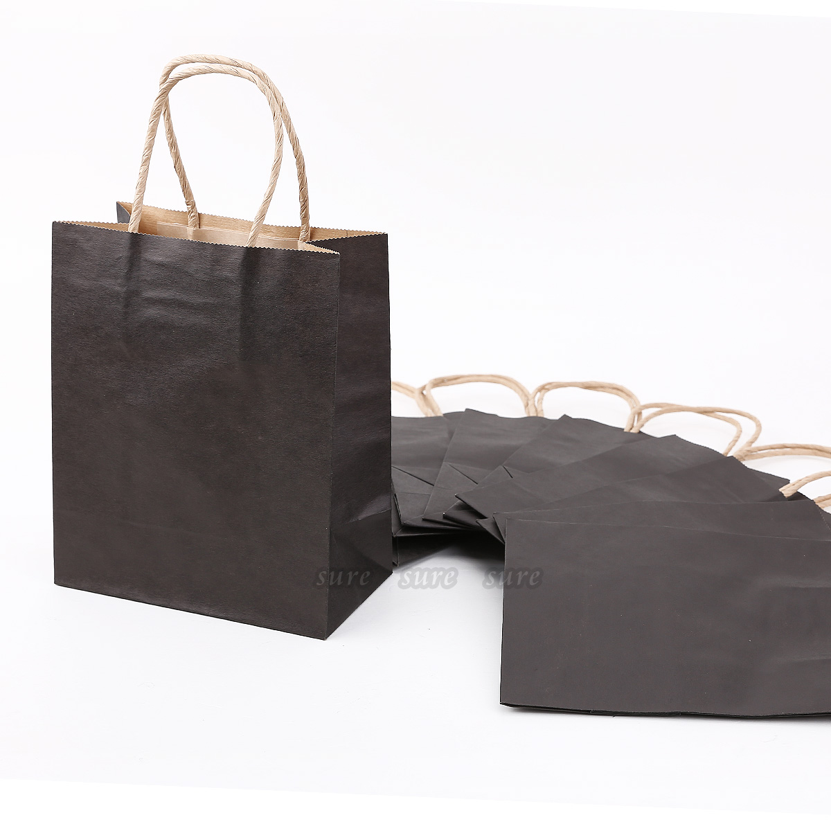 10 sac pour cadeau en papier kraft poignee torsadee 18x15x8cm sachet pochette. Black Bedroom Furniture Sets. Home Design Ideas