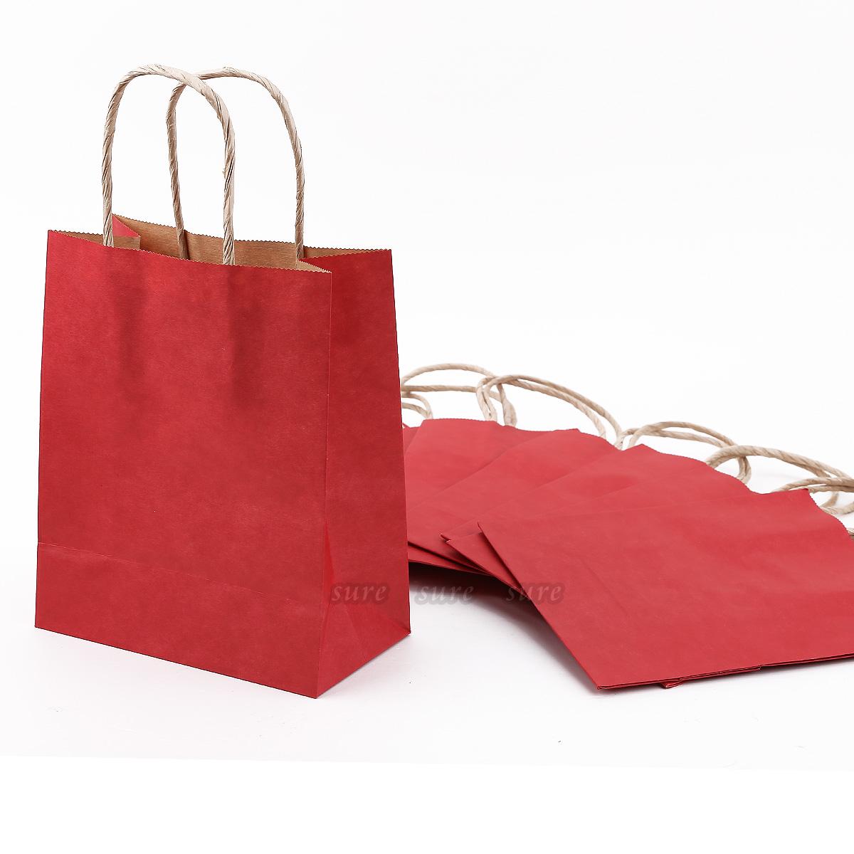 Bolsas de papel kraft para regalo 10 unidades color rojo - Bolsa de papel para regalo ...